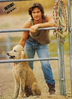 Patrick Swayze with his poodle.
