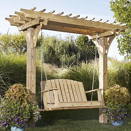 Easy Swinging Arbor with Swing — With only two posts to set and nothing to rip, you'll be relaxing in your new swing in no time. This project features simple joinery—screws and a few notches—for quick construction. Decorative battens and beams strengthen the arbor while providing partial shade. http://www.woodstore.net/easwarwisw.html