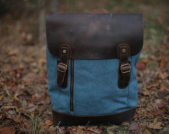 Azul tela mochila / morral de cuero / encerado lona lona morral mochila / morral del ordenador portátil / Mens mochila / bolso de la lona