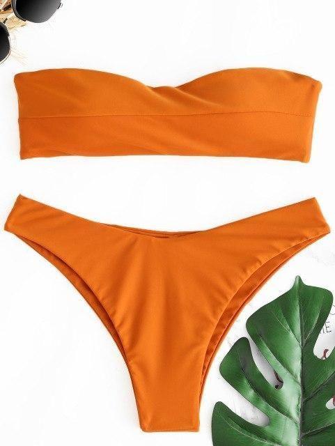 b39cfe0693 LANGSTAR 2018 New Women Swimsuit Bandeau Thong Bikini Set Swimwear Women  Low Waist Solid Tube Strapless Padded Brazilian Biquni