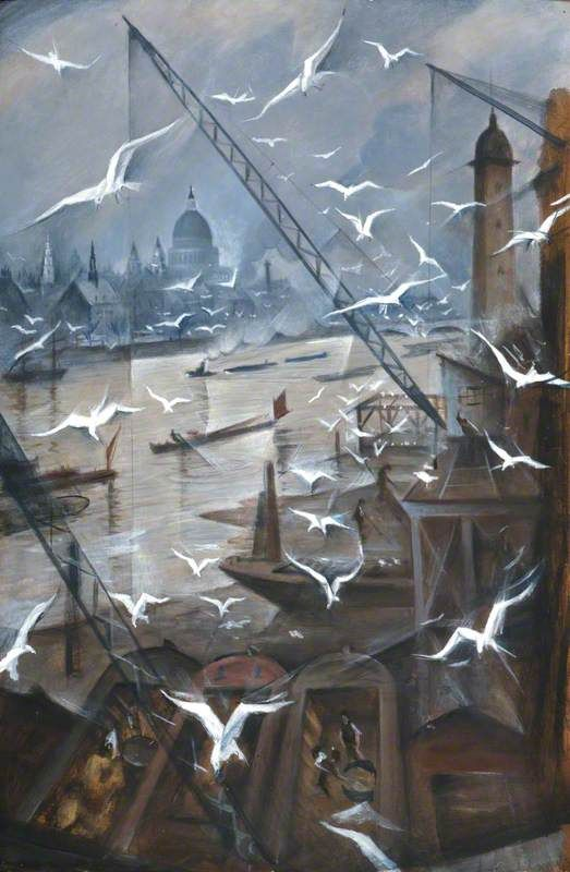 'London, Winter', tempera paint on board by Christopher Richard Wynne Nevinson (1928). #PaintedLondon