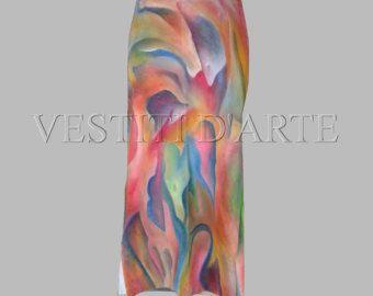HAND PAINTED SKIRT maxi skirt boho maxi skirt long skirt maxi dress for bridesmaid dress vintage skirt bohemian clothing african skirt -…