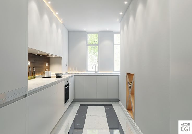 3-D renderings can be especially helpful when you design small spaces, such as this kitchen. Use our 3-D #rendering services to increase the effectiveness of your design projects – we're always available at archicgi.com.