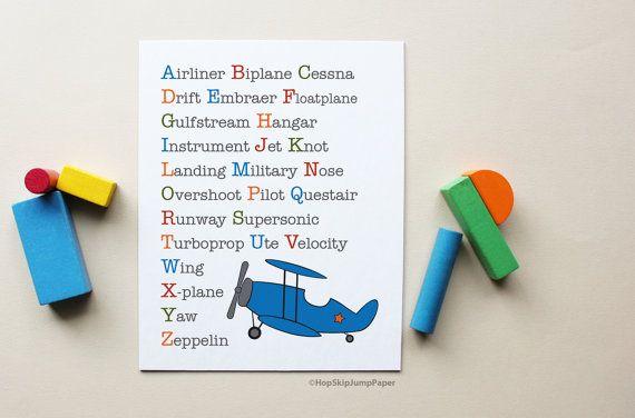 Vliegtuig alfabet Boy kwekerij Art Poster door HopSkipJumpPaper