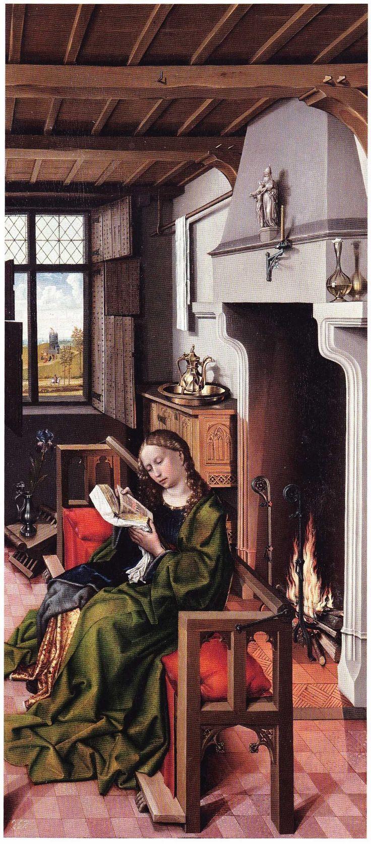 Meister von Flemalle, Hl. Barbara rechter Flügel des Triptychons des Heinrich von Werl, 1438