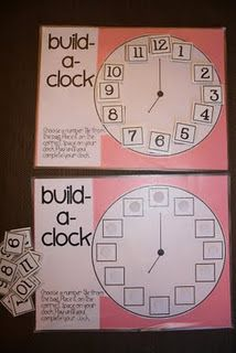 build a clock for teaching time. my new twist on this would be to add the hands in color (just like on the Judy clock) with the hours written in one color and then in smaller numbers up top the minutes counted off by 5s in the other color.