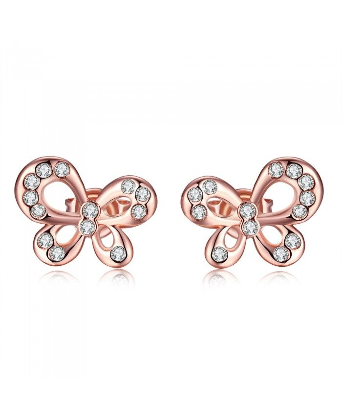 E021 New Fashion Nickle Free Antiallergic Rose Gold Plated Earrings Jewelry For Women