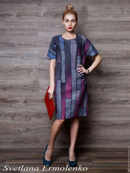 """Платья ручной работы. Ярмарка Мастеров - ручная работа. Купить Валяное платье """"Тиффани"""". Handmade. Комбинированный, платье на каждый день"""