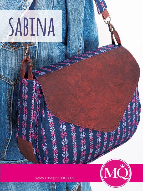 MARINA QUILT srpen / září 2015; kabelka SABINA - věčná klasika, tentokrát v kombinaci s koženkou. V on-line klubu právě probíhají video lekce šití kabelky.