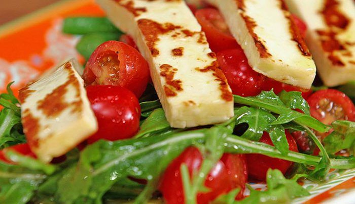 Grilled Halloumi, Snow Pea and Green Bean Salad