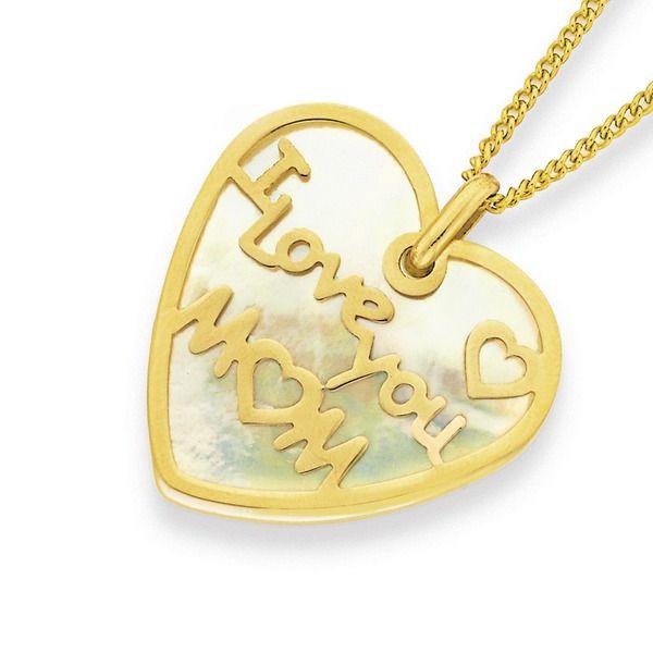 9ct Gold 'I Love You Mum' Pendant