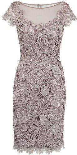 Sheath Bateau Cap Sleeves Grey Lace Short Mother of The Bride Dress M4833