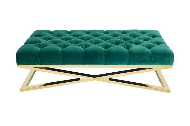 Brass X-Base Ottoman in Como Emerald Velvet - ModShop