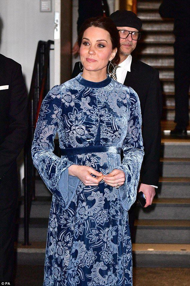 Kate Middleton stepped out looking stunning in a blue floral velvet Erdem dress in Sweden ... #katemiddleton #royals