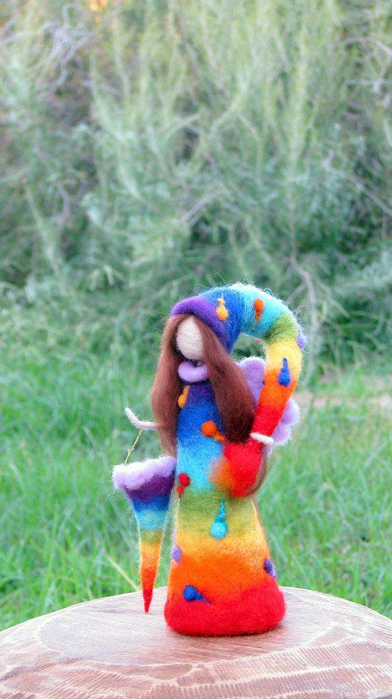 Rainbow fairy Needle felted fairy Art doll Fantasy doll Fairy Waldorf inspired doll Woolen Tree guardian doll Home decor #needlefelted #doll #rainbow #fairy #plants #trees #forest #fairytale #gift #home #room #decor