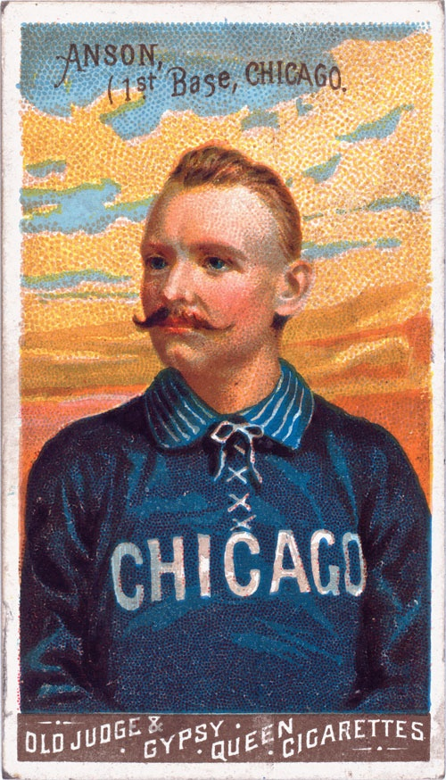 Issued by Goodwin & Company in 1888, this baseball card shows Cap Anson of the Chicago White Stockings. Anson was a first baseman for the National League team. These Goodwin Champions baseball cards appeared in packs of Old Judge & Gypsy Queen Cigarettes.