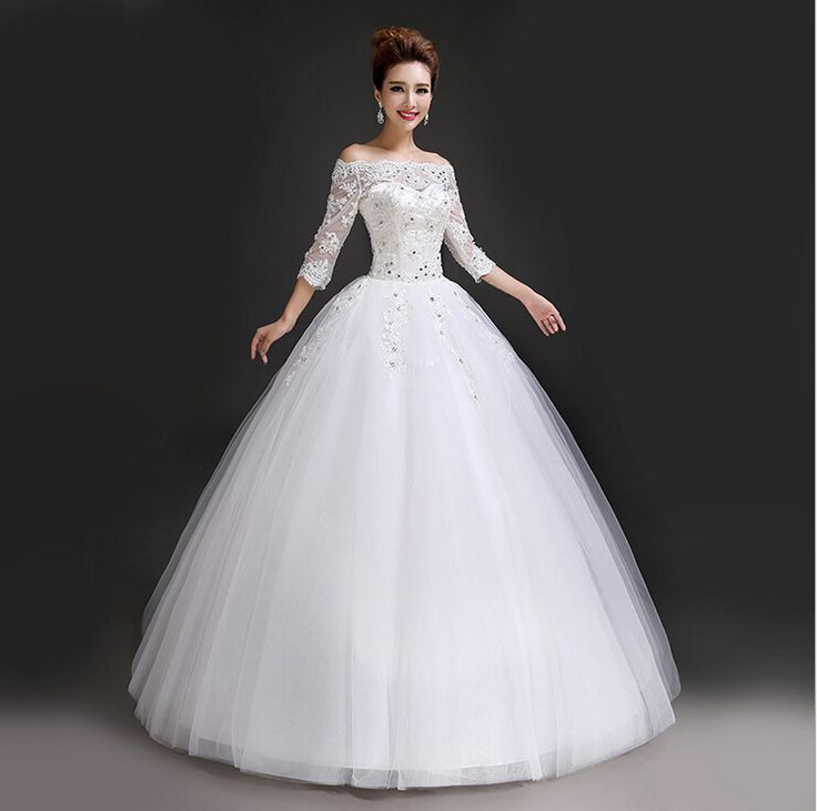 Wedding Dress 2015 Autumn And Winter Princess Slit Neckline Lace Vintage Wedding Dress Lace Up