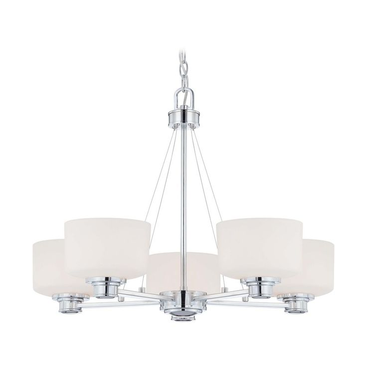 Nuvo Lighting Modern Chandelier with White Glass in Polished Chrome Finish 60/4585