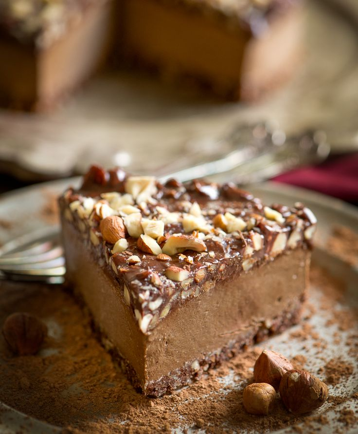 Triple Chocolate Hazelnut Espresso Frozen Torte: a chocoholic's dream (raw, vegan).