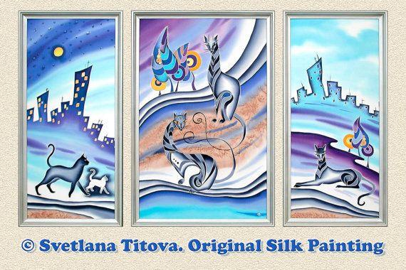 Silk Painting by Svetlana Titova. Cats .Size от MagicSilkPainting