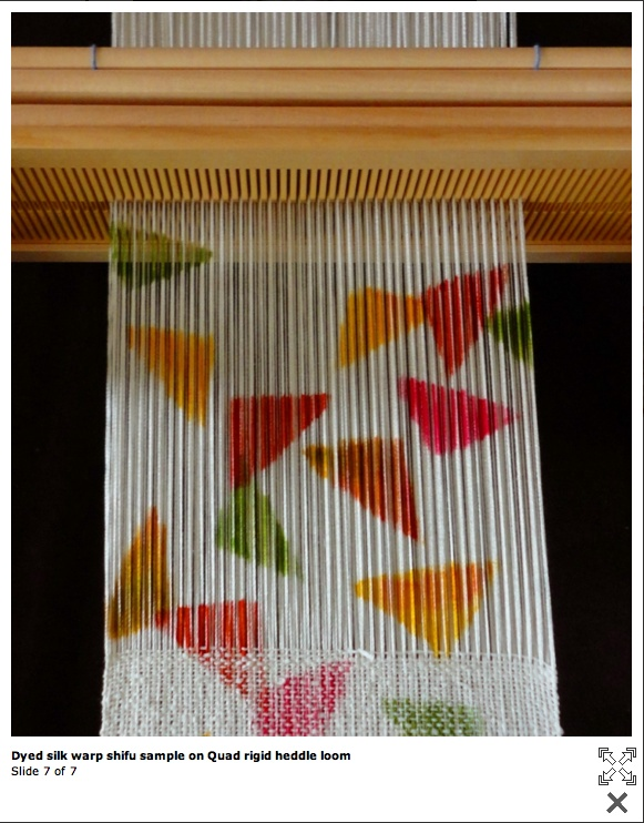 silk hand paint warp with shifu weft ; Wow. I've never tried a hand-painted warp, but I love this idea.