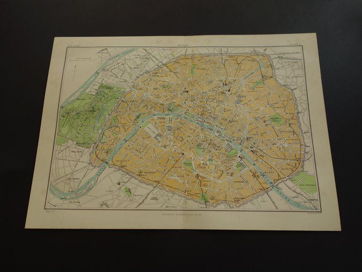 """130+ years old Paris city plan - original 1883 antique map - Parijs France Parigi 巴黎 poster - plattegrond Stadtplan de ville 27x38c 11x15"""" by VintageOldMaps on Etsy"""