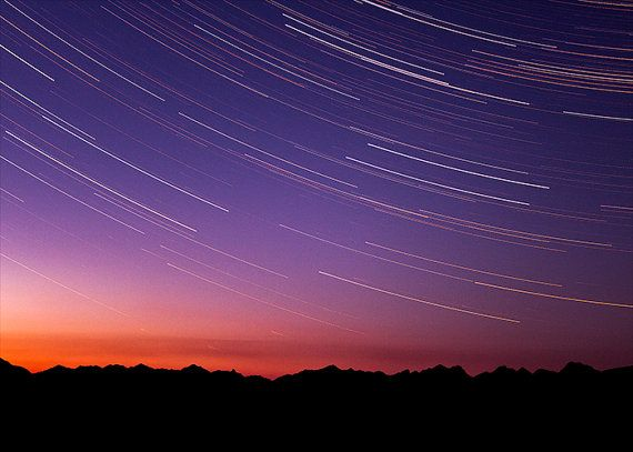 Mountain Photograph - Star Trails, Rocky Mountains