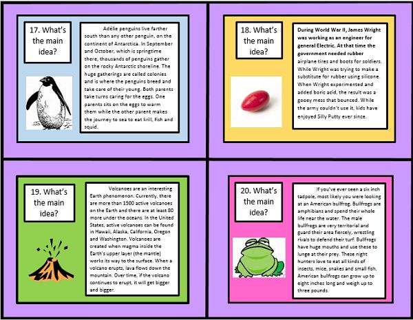 These 32 Common Core Main Idea Task Cards by The Teacher Next Door will help your students practice one of Common Core's key reading strategies: finding the main idea using informational text. Each main idea task card has a short informational text passage and asks students to identify the main idea. The passages included are original pieces and were carefully crafted to be high interest and fun! Topics include how potato chips were invented, the Mt. St. Helens Volcano, narwhals and more!