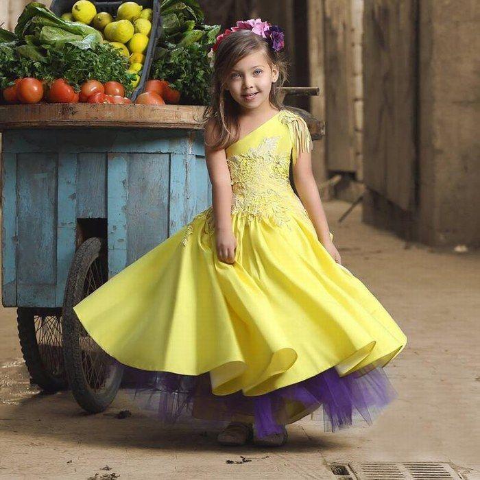 New Charming Pretty One Shoulder Flower Girl Dresses Tassel Appliques Kids Prom Dress Cheap Pageant Dresses For Little Girls Toddler Gown Birthday