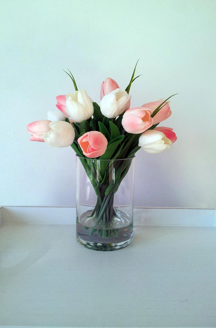 Best 25 tulips in vase ideas on pinterest growing tulips how real touch floral centrepiece artificial flowers arrangement faux silk flowers in vase pink reviewsmspy