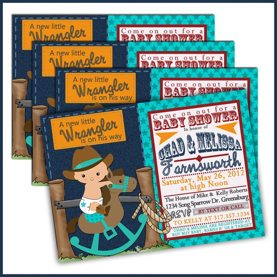 cowboy baby shower invitations for buckaroo baby by lullabyloo