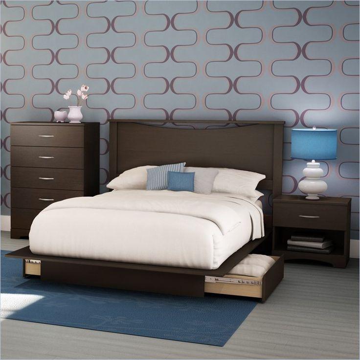 dimora bedroom set%0A South Shore Back Bay Dark Chocolate Queen Wood Storage Platform Bed   Piece Bedroom  Set