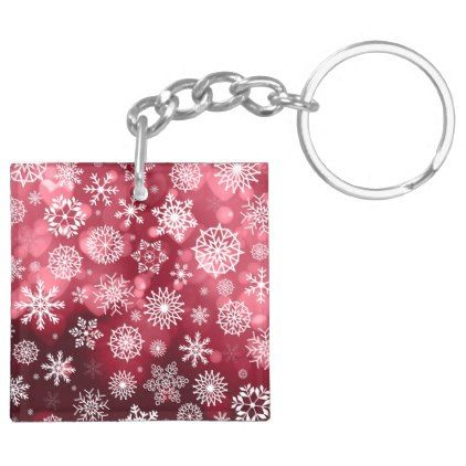 Snowflakes on a Valentine Background Keychain - christmas keychains family merry xmas personalize gift idea