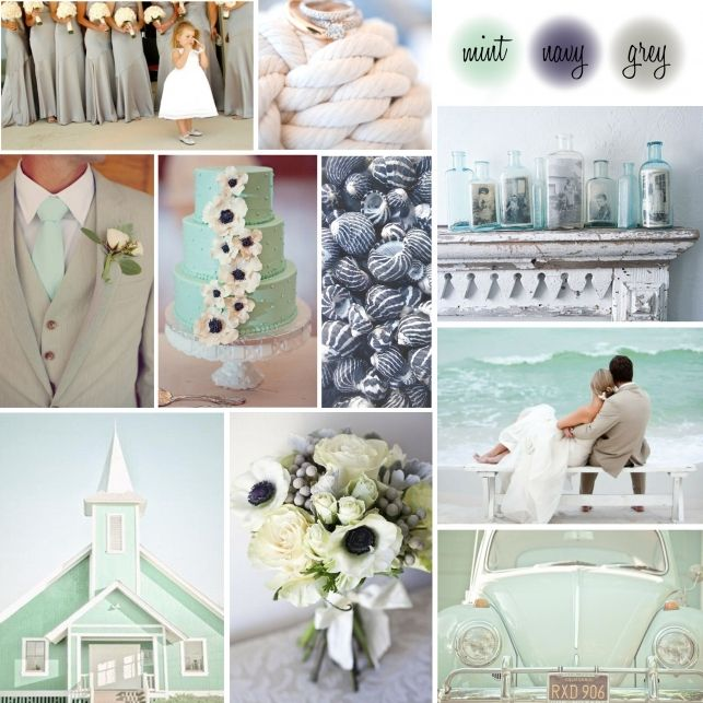 mint Green and Gray Wedding Ideas | look try pairing mint green with navy blues and greys the creates a ...