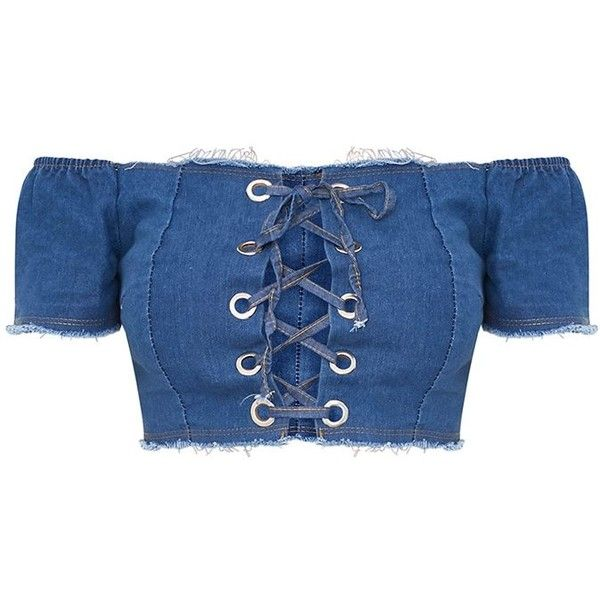Dark Wash Denim Corset Top (£24) ❤ liked on Polyvore featuring tops, crop tops, shirts, blusas, lace up shirt, blue corset, lace up crop top, laced up top and blue crop top