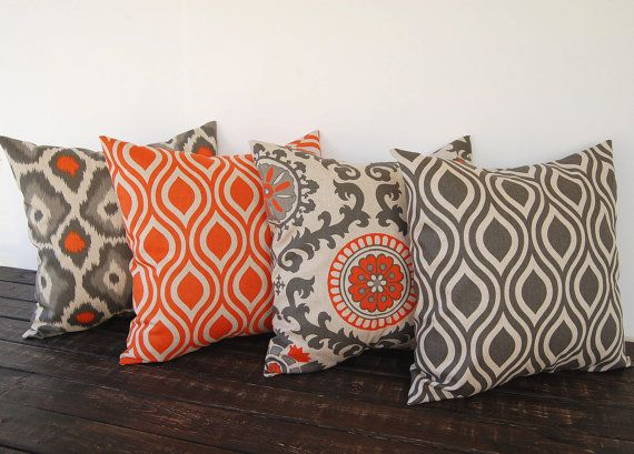 "Throw pillow covers 16"" x 16"" Set Of Four orange gray beige ikat batik cushion cover pillow sham"