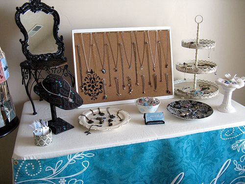 Table Display Ideas find this pin and more on craft booth display ideas Jewelry Table Display