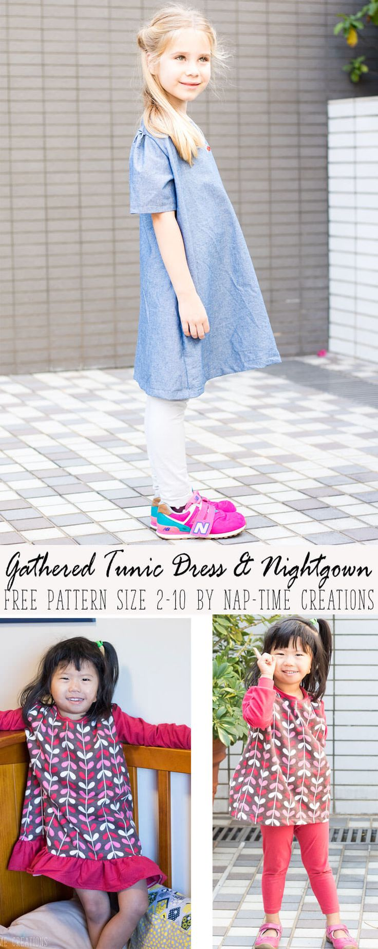 You are going to love this girls gathered tunic dress free pattern. You can also use it to make a nightgown. Versatile and perfect for play. and a FREE pdf.