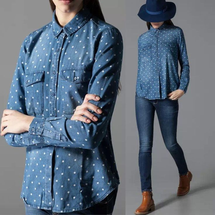 Women White Dots Double Pocket Long Sleeves Denim Casual Blouse Tops Shirts  #Dunland #Blouse #Casual