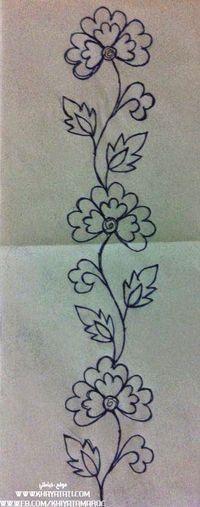 Motivo floral, risco bordado