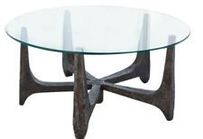 Luxe Brutalist Rustic Iron Coffee Table Round Rough Industrial Modern Midcentury