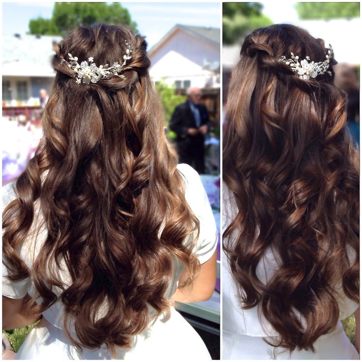 Wedding Day Hairstyle for a Southern Oregon Bride in a Backyard Wedding. Boho-chic hair with twisted waterfall braid and soft wavy curls