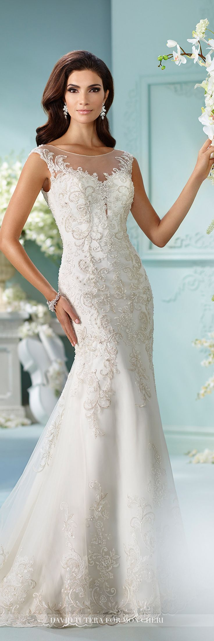 Great Metallic Embroidered Venise Lace Fit u Flare Wedding Dress Cersira