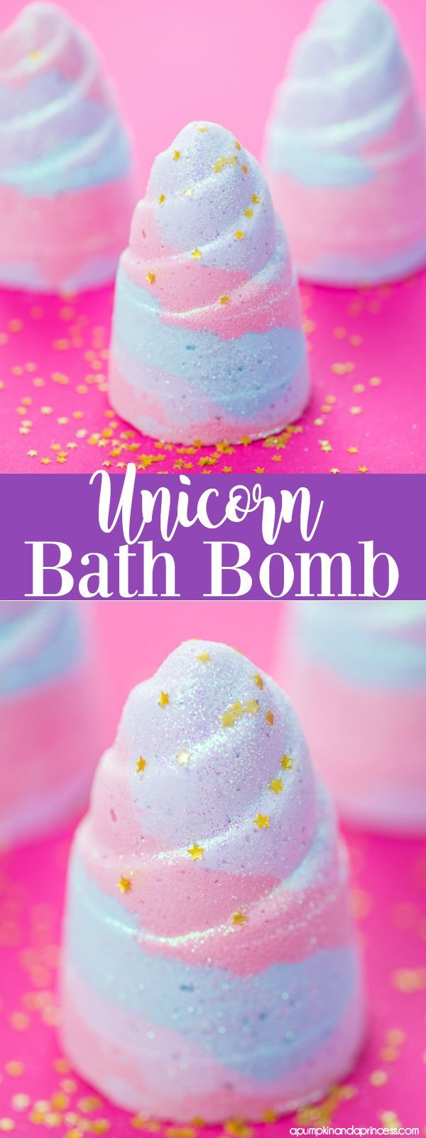 DIY Unicorn Bath Bomb - how to make a glitter unicorn horn bath bomb