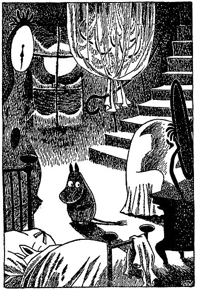 "Moomin looks spooked out. I wonder if the Groke is close by. *Shiver* The Groke (in German ""Die Morra"") is such a creepy character. Although she only seeks the light because she's lonely."