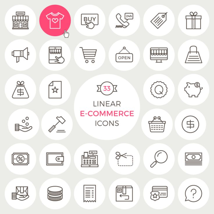33 Linear E-Commerce Icons