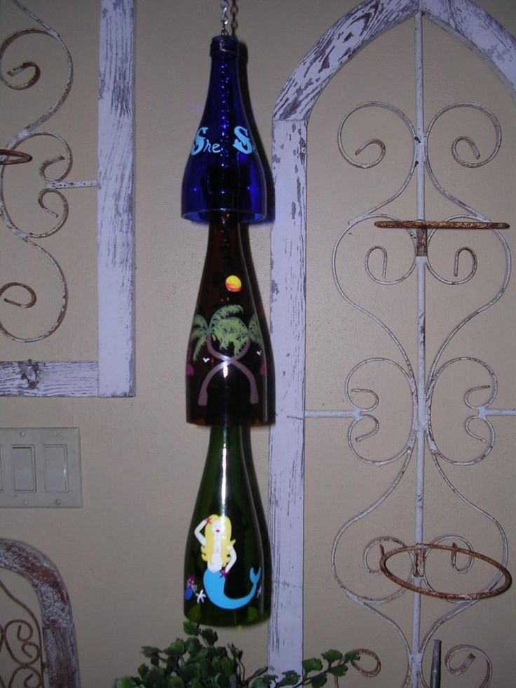 1000 ideas about wine bottle chimes on pinterest wine for Recycled glass art projects