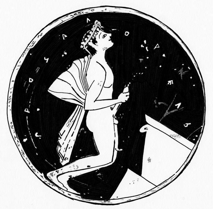 Image result for ancient greek vase old man drinking