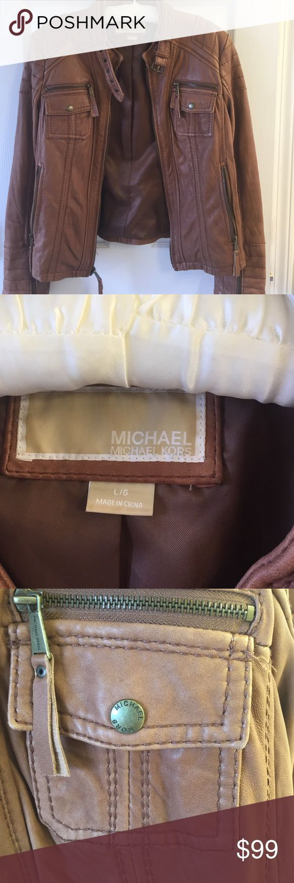 Michael Kors tan leather jacket Excellent shape, worn only 2-3 times.  Genuine leather, very soft.  Hits right at the hip.  Quilting on sleeves.  No wear or damage.  Motorcycle style MICHAEL Michael Kors Jackets & Coats