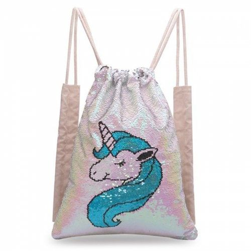 10624e0c4bd2 Mermaid Sequin Sport Bag Double-sided Unicorn Drawstring Backpack ...